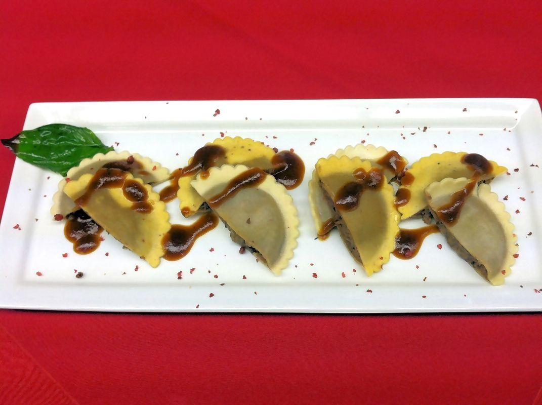 Beef with Black Truffles Ravioli Plus Portobello Mushroom with Porcini ...